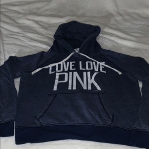 PINK Navy Pullover Sweatshirt Size L